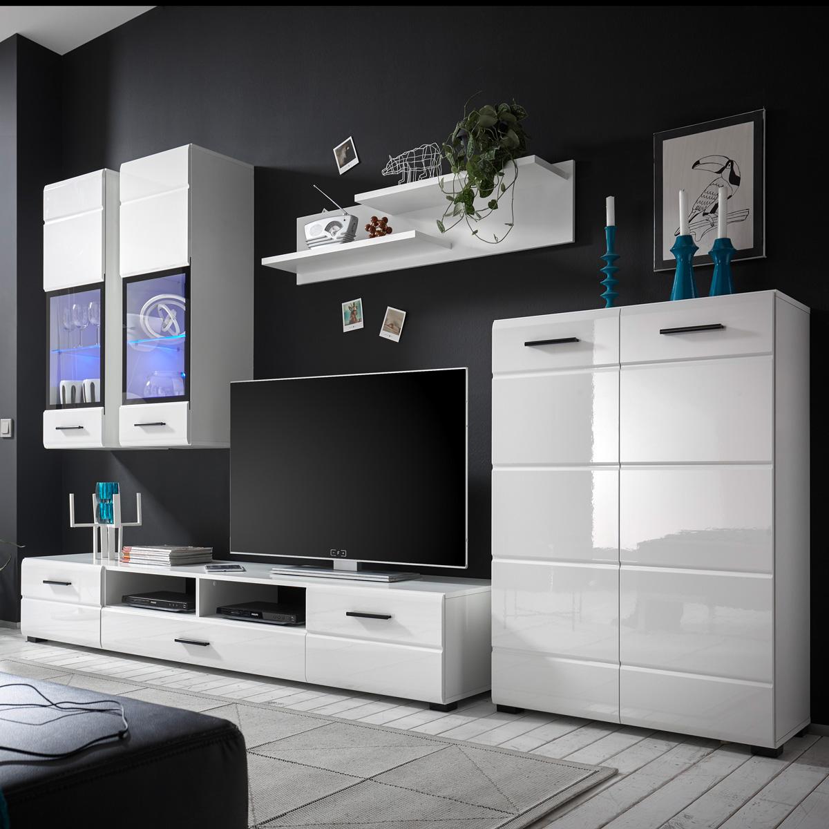 Wohnwand inkl. LED-Beleuchtung - Weiß