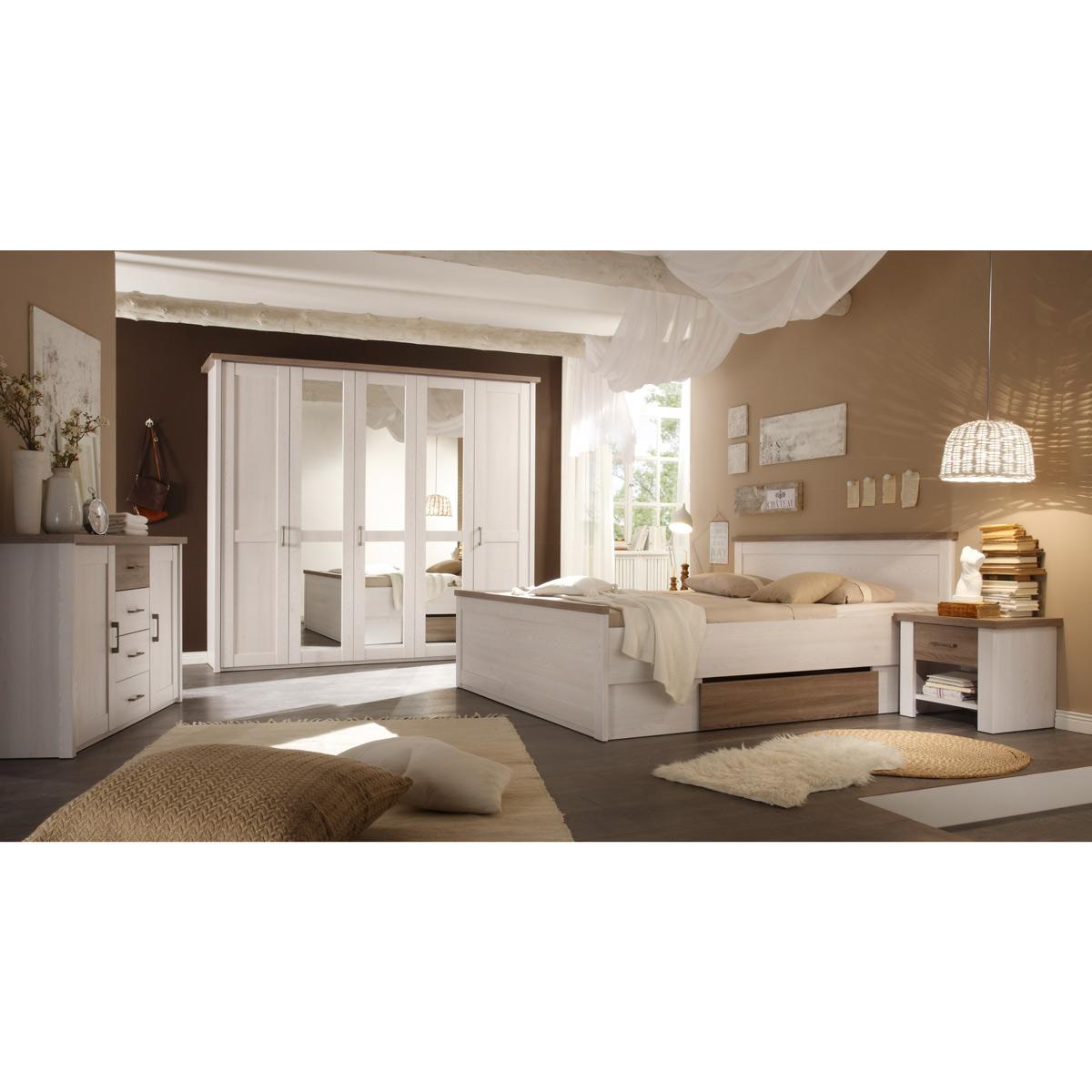 Schlafzimmer Landhausstil Pinie Weiß Nachbildung mit Absetzung in Trüffel