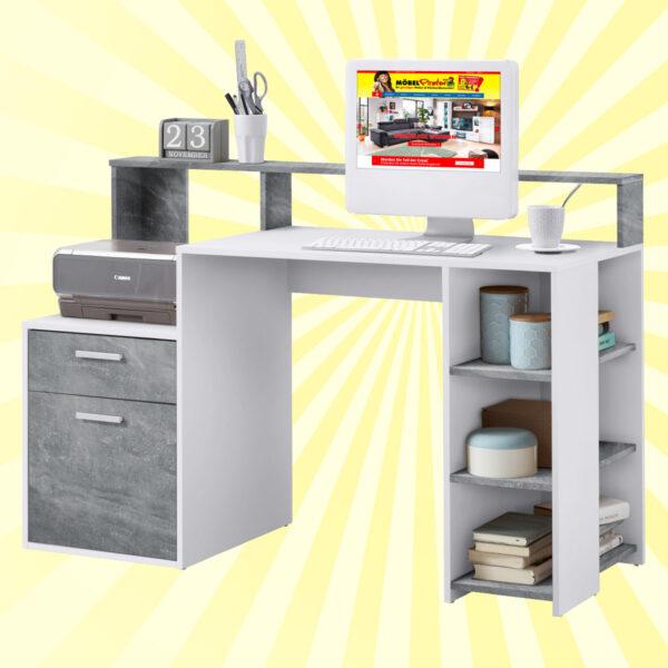 Schreibtisch - Betonfarben/Weiß