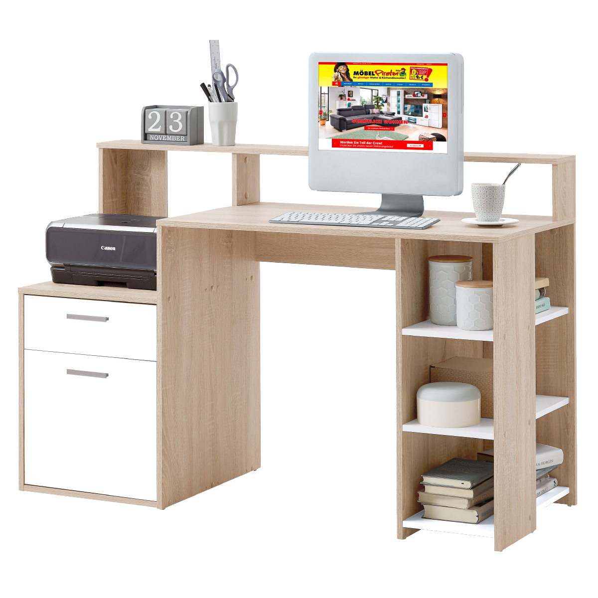 Schreibtisch - Sonoma Eiche Nachbildung/Weiß