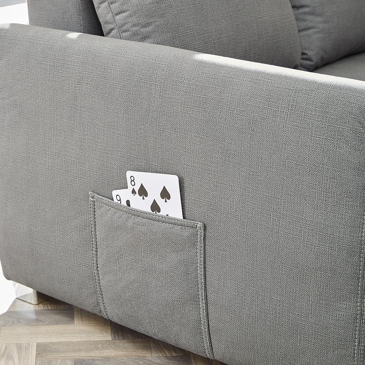 Ecksofa mit Doppel-Gästebettfunktion – große Tasche